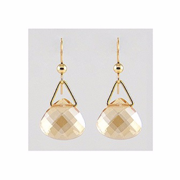 Handcrafted By Noka Art Jewelry - 14k Gold Filled Drop/Dangle Crystal Earrings